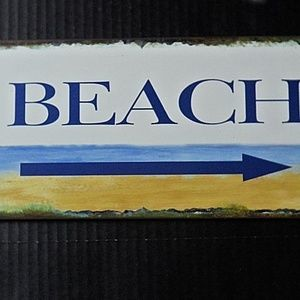 Other - Beach Sign Arrow Metal Seashore Coastal Wall Decor